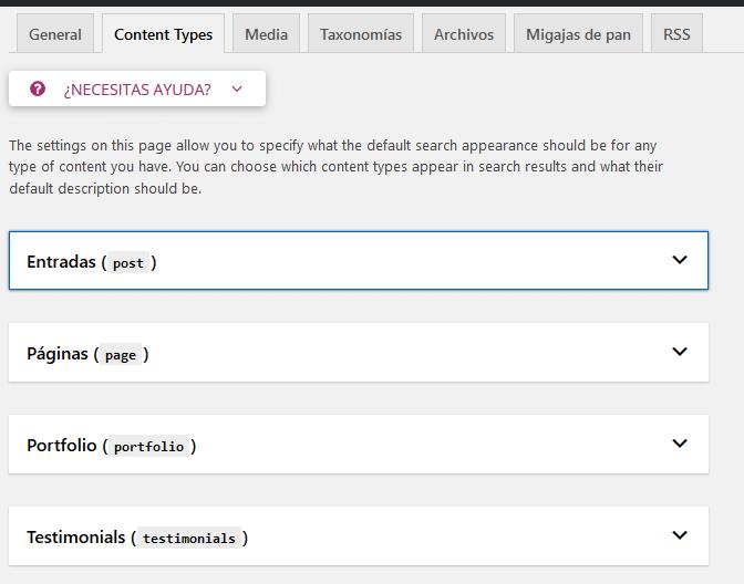 configurando el tipo de contenido yoast seo
